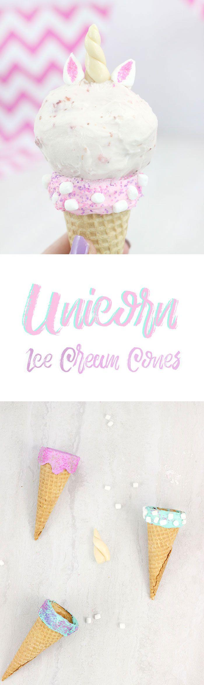 Unicorn Ice Cream Cones. Make magical ice cream cones the easy way with frosting.