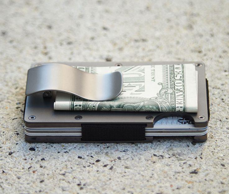 Slim RFID-blocking wallet made from Aluminum, Titanium, or Carbon Fiber.