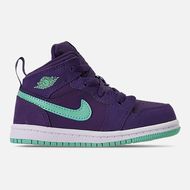 b40c58dfc0ab4 Right view of Girls  Toddler Air Jordan 1 Mid Basketball Shoes in  Ink Emerald Rise White