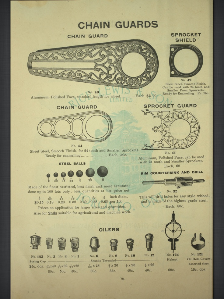 Bicycle parts book, from 1900