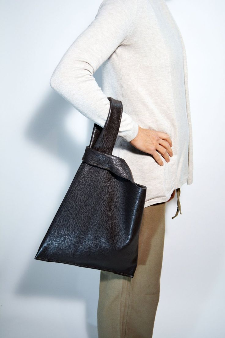 Brown Leather Bag Leather Shopper Bag Soft Leather Handbag Everyday Bag Unisex Bag Borsa di Pelle