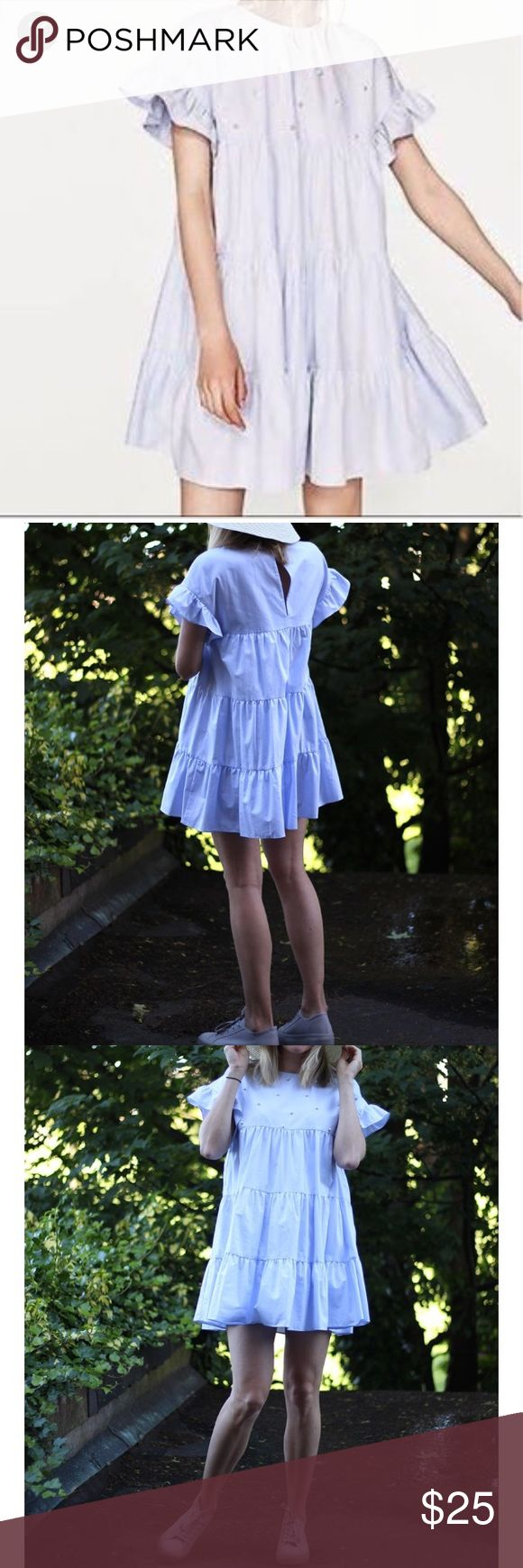 Zara Pearled Baby Doll Dress Adorable pearled Zara baby doll dress in pale blue. Great condition! Zara Dresses Mini