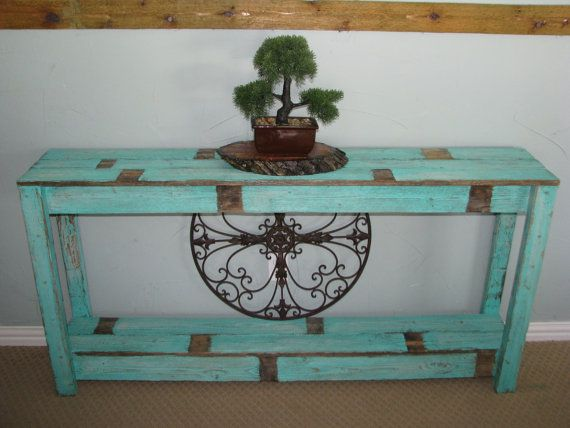 Rustic Sofa Table in Farmhouse Aqua by RusticExquisiteDsgn on Etsy
