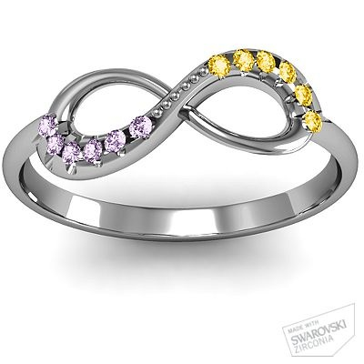 Infinity Accent Ring with his and hers birthstones... LOVEEE this!!
