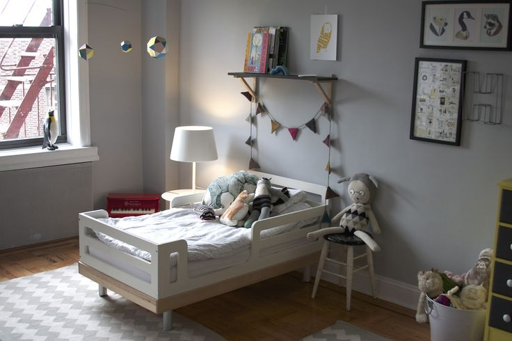 Oeuf Classic Todler Bed and Oeuf Garland in  coos & ahhs: Henry + Adela's Room {Operation Nursery}  #oeufnyc #kidsroom #bedroom