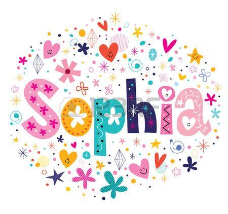 Sophia nombre femenino Tipo de letras diseño decorativo Foto de archivo
