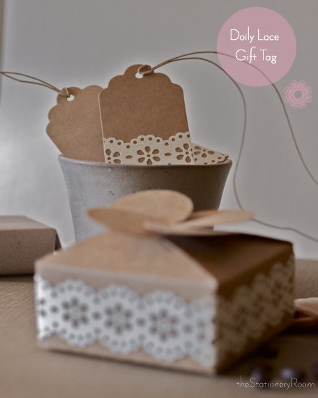Kraft Paper Doily Lace Gift Tags