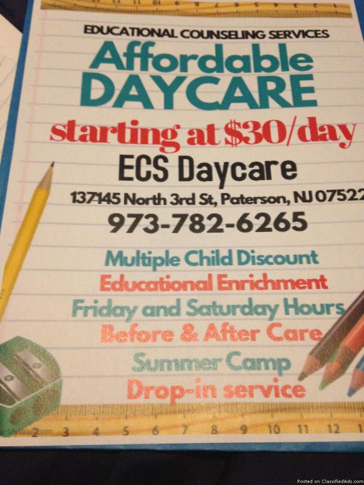Act Fast, 4only openings left Call today and start tomorrow 2 ½ to 12 No waiting List Discount for Siblings Certified Child Care Center Drop-in/Back up Care School Close We now accept 4cs/TANF/Sliding Scale Best rates in town E.C.S , a small day care licensed and certified through New Jersey State Board of Education, Office of Childcare Conveniently located near North 3rd St. Paterson, NJ . Drop off your child and be on Route 80 or Haledon in minutes. Our philosophy is bas...