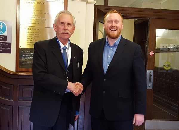 Ulverston Councillor returns to Town Hall after four years http://www.cumbriacrack.com/wp-content/uploads/2016/05/Norman-Bishop-Rowe-and-Ben-Berry.jpg Ulverston Councillor Norman Bishop-Rowe has been welcomed back to Kendal Town Hall District Council Chamber after four years.    http://www.cumbriacrack.com/2016/05/19/ulverston-councillor-returns-town-hall-four-years/