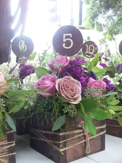Rustic wedding flowers purple and pink byFlour and Flower Designs and Flower Designs box with flowers purpleflower centerpieces  | followpics.co