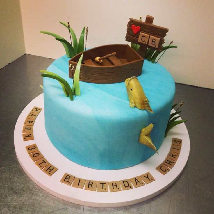 Fishing Theme Cake With Scrabble Pieces As The Message