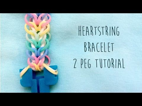 Easy rainbow loom Heart String bracelet tutorial, does not use hook, only two pegs of a loom. You can use a monster tail, finger loom, rainbow room or just t...