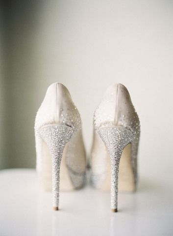 White wedding shoes with a touch of sparkle | Citrus Sage Specialty Cocktail | Curated By Hey Wedding Lady | via Mountainside Bride