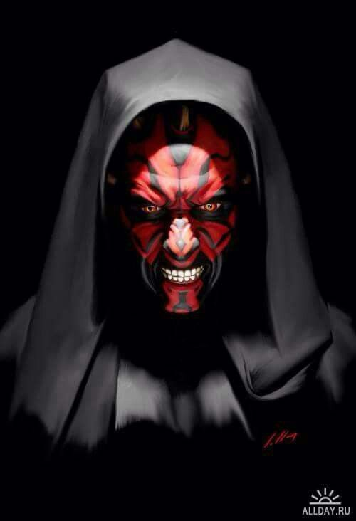 Darth Maul trying to smile for a selfie.