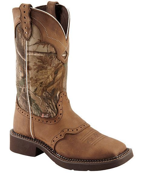 Justin Gypsy Real Tree Camo Cowgirl Boots - Square Toe #CowgirlBoots