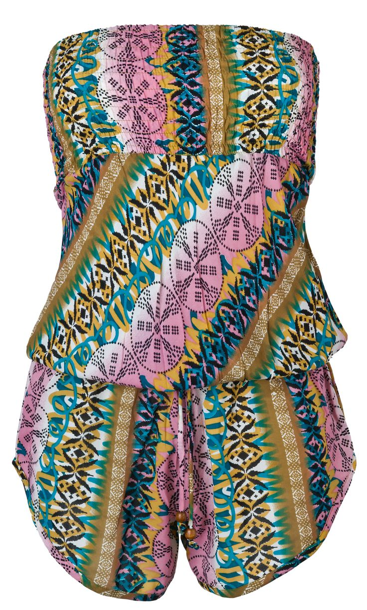 COLORFUL GEO PRINTED STRAPLESS PLAYSUIT