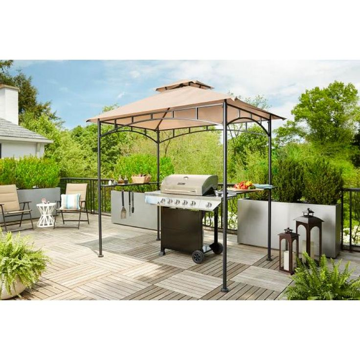 Hampton Bay Heathermoore 8 Ft X 5 Ft Grill Gazebo L Gg034pst The Home Depot Grill Gazebo Patio Gazebo