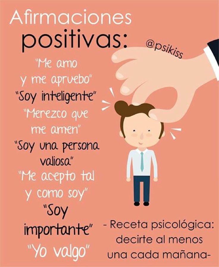 Las afirmaciones positivas cambiarán tu forma de pensar y de percibirte!, intenta darte al menos una al despertar.  Los cambios los verás de forma inmediata (si eres constante).