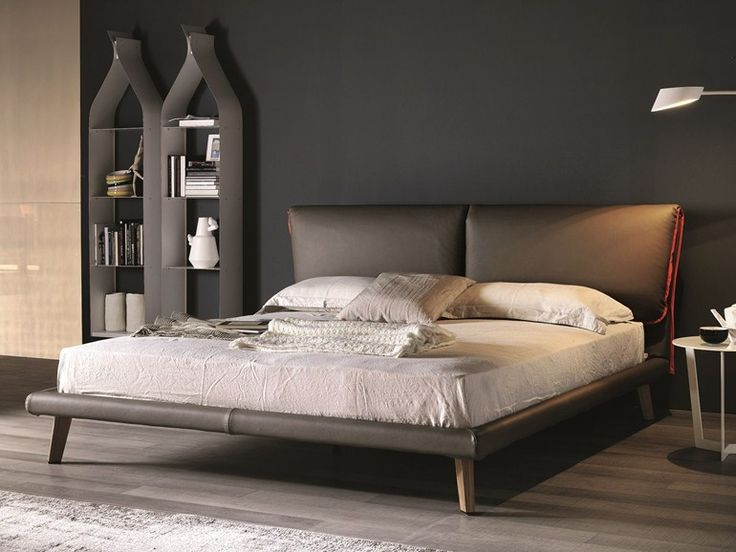 Leather double bed with upholstered headboard ADAM by Cattelan Italia design Gino Carollo