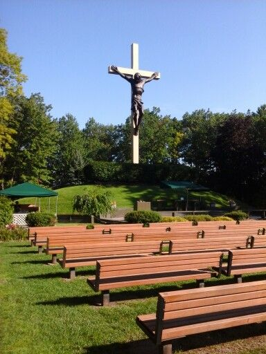 Cross in the Woods outdoor cathedral in Indian River, MI. World's largest crucifix, carved from a single redwood tree.
