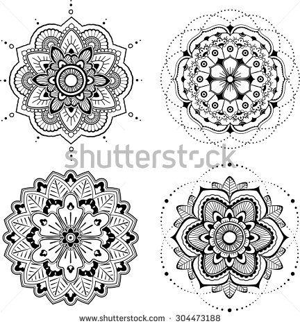 Set of four black mandala, white background