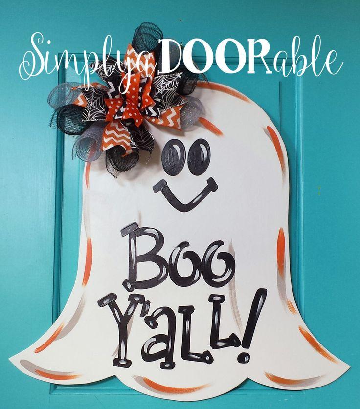 Boo Y'all Ghost Wood Door Hanger by SimplyaDOORable.  Halloween Door Decor…