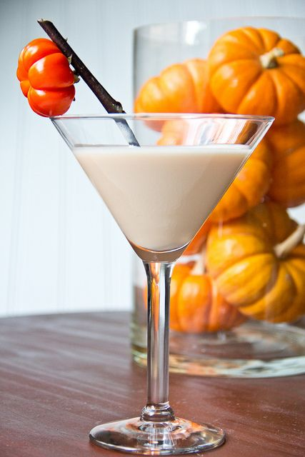 Pumpkin Cake Martini ....   Recipe Type: Cocktail ....  Prep time: 5 mins....   Serves: 2....   Ingredients : 4 ounces Fulton's Harvest Pumpkin Pie Cream Liqueur....      4 ounces UV Cake Vodka....      2 ounce milk....     Instructions:         Combine all ingredients in a cocktail shaker filled halfway with ice and shake for 30-40 seconds....       Pour into martini glasses.... enjoy! =)