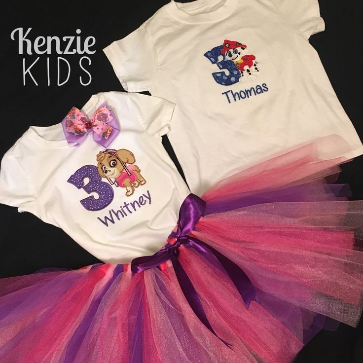 Paw Patrol birthday outfit by Kenzie Kids Boutique Skye hair clip, tutu and embroidered onesie and Marshall embroidered shirt