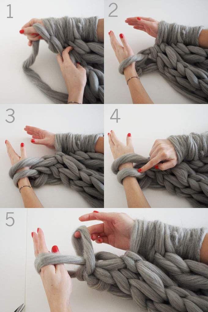 plaid diy tricoter avec les bras une couverture. Black Bedroom Furniture Sets. Home Design Ideas