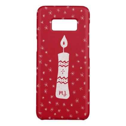 Christmas candle with sparkling stars on red Case-Mate samsung galaxy s8 case - red gifts color style cyo diy personalize unique