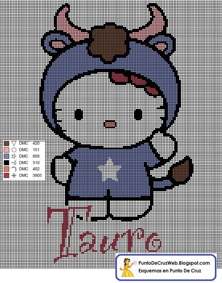 Punto De Cruz Horoscopo Hello Kitty Tauro