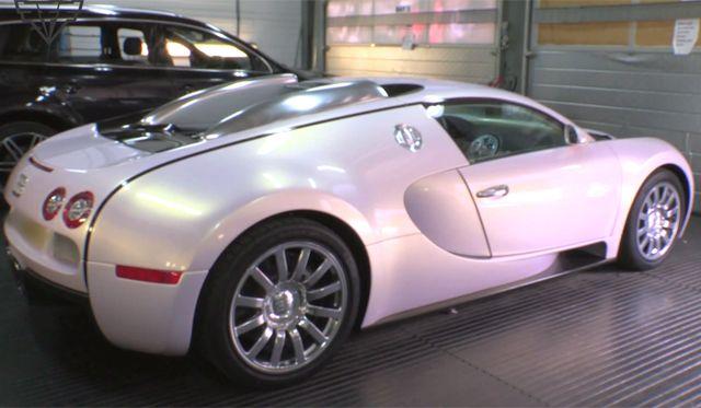 Video Pearl White Pink Bugatti Veyron Foil Wrap Car