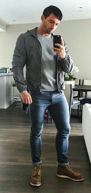 Gay men in bulging jeans