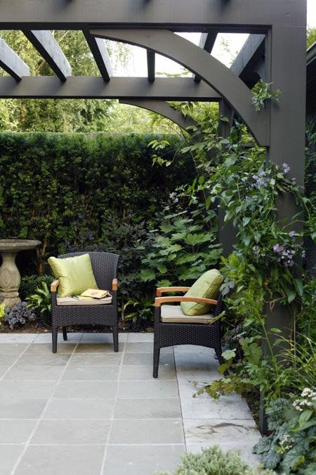I like this contemporary pergola and seating