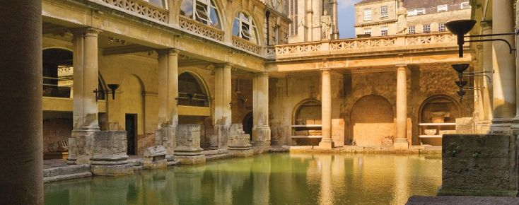 Bath, England. Walk where Romans walked on 2000 yr old pavements beside the streaming pool
