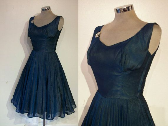 Darling late 1950s cocktail dress navy chiffon/ by ukcharmvintage