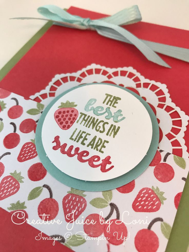 Stampin' Up! Cool Treats, Strawberry card, Video tutorial, www.creativejuicebyloni.com