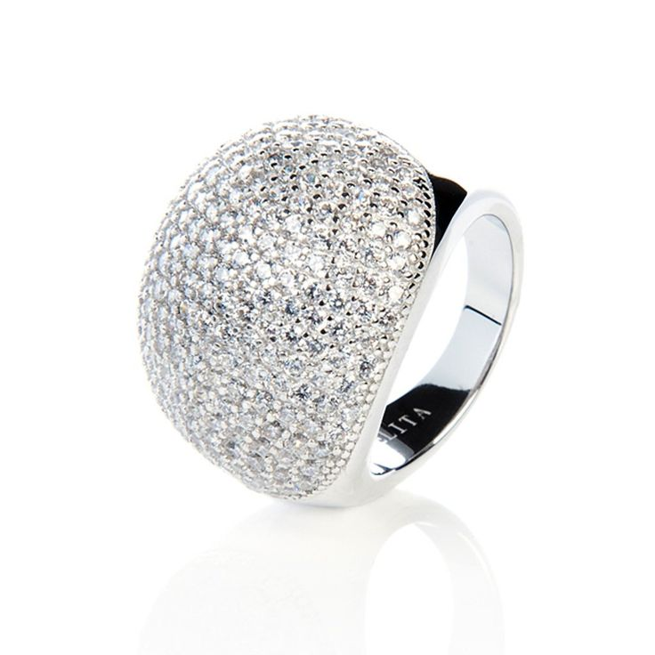 Silver Micro Pave Statement Cocktail  Ball Ring - White Zircon