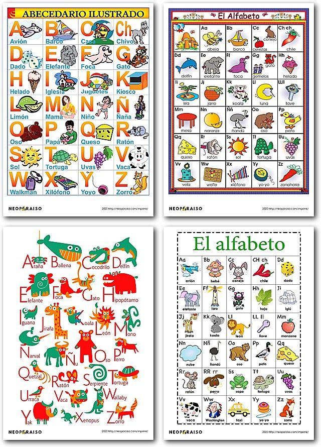 Hojas Con El Abecedario Para Imprimir Carteles Del Alfabeto En Espanol Ilustrado Ficha Carteles Del Alfabeto Abecedario Para Imprimir Alfabeto Para Imprimir