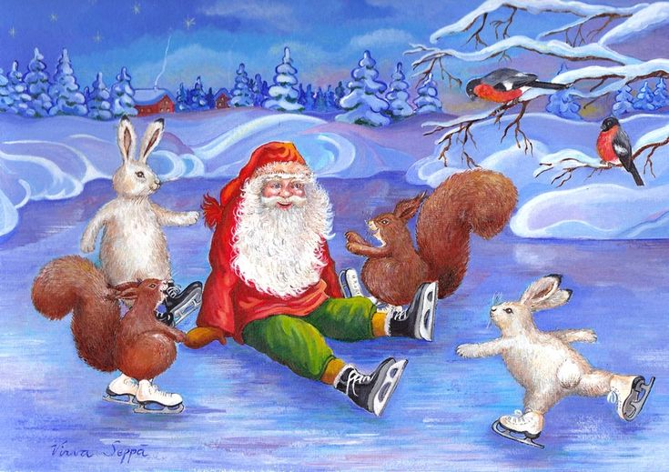 Hoksotin.com | A digital jigsaw puzzle of a Christmas gnome and animals ice skating / Digitaalinen palapeli tontusta ja eläimistä luistelemassa