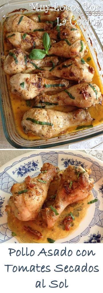 Pollo Asado con Salsa de Tomates Secados al Sol: Con una salsa cremosa de parmesano y hierbas aromáticas. ¡Delicioso! Puedes encontrarlo en www.muylocosporlacocina.com.