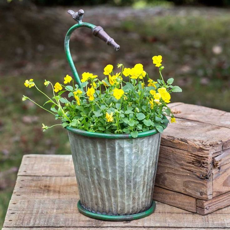 """Corrugated Metal Garden Hose Tapered Planter Measures :8¼"""" dia. x 15""""T. Metal pot is 8"""" x 7"""" Please review our shipping policies, you can find the link on the h"""