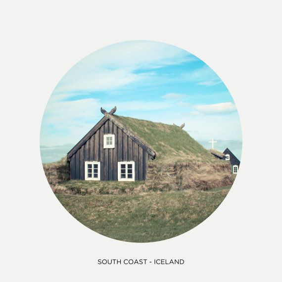"""Icelandic traditional farn, Circle picture, Iceland photography, Northern house, Nordic art print, Scandinavia, 8"""" x 8"""", 20 cm x 20 cm"""
