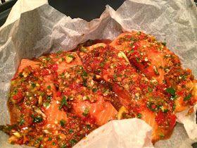 Thermomix Coriander and chilli steamed salmon