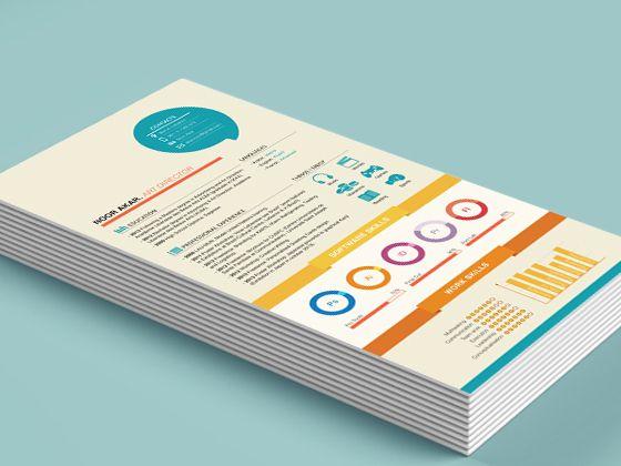"""Um dos recursos mais bacanas para se fazer um currículo criativo, e um designer NUNCA deve mandar um """"curriculum vitae"""" simples e mal diagramado, é a infografia, nela o selecionador pod…"""