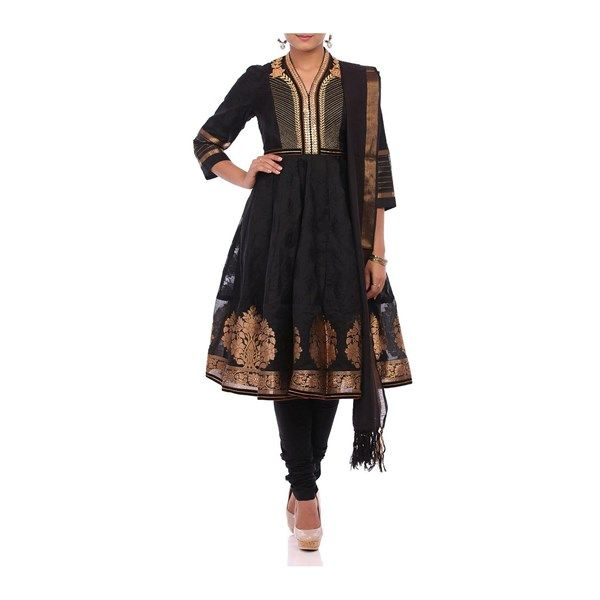 An elegant anarkali kurta in black jacquard featuring traditional copper embroidery on the bust yoke with a copper boota border.