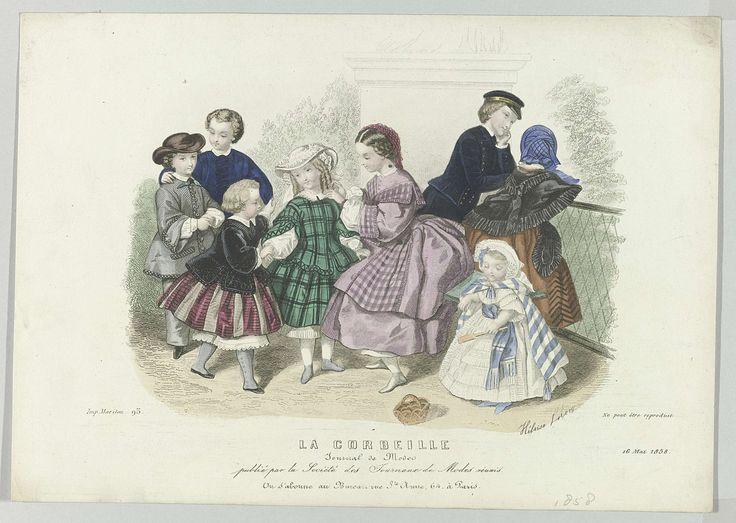 Anonymous   La Corbeille, 16 mai 1858 : Journal de Modes..., Anonymous, Mariton, 1858   Kinderkleding voorjaar 1858: drie jongens en vijf meisjes van verschillende leeftijden. Prent uit het modetijdschrift La Corbeille (1840-1878).