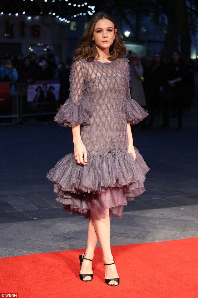 English Rose: Carey Mulligan looked beautiful on Wednesday evening at the Suffragette premiere in London: