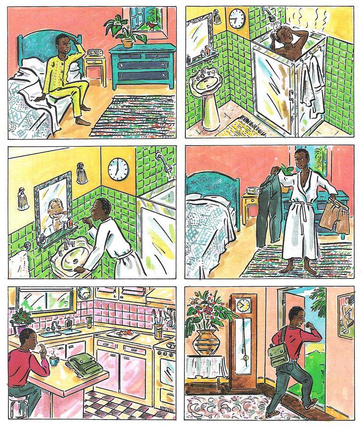 A1 - ¿Qué hace este chico por la mañana y a qué hora?. La rutina diaria (la hora + acciones habituales).
