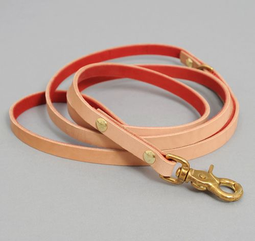 LEATHER DOG LEASH, NATURAL :: HICKOREE'S